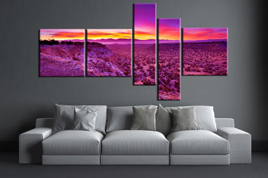 5 piece wall art,  landscape multi panel art, purple landscape artwork, landscape huge large pictures, living room photo canvas