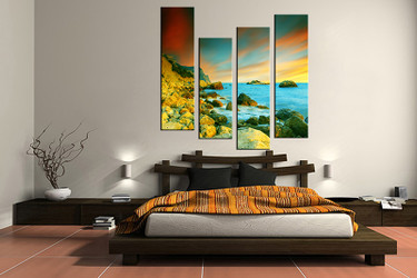 4 piece canvas art print, bedroom art, ocean multi panel art, ocean huge pictures