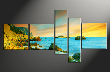 5 piece canvas wall art, home decor art, ocean canvas art print, ocean pictures, ocean huge pictures