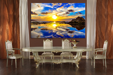 1 piece large canvas, dining room canvas wall art, ocean yellow artwork, ocean huge pictures, ocean art