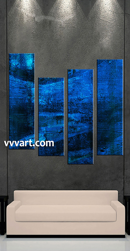 4 Piece Blue Abstract Large Canvas Oil Paintings Abstract Split Artwork Abstract Art