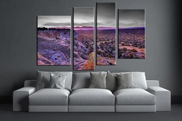 4 piece canvas wall art, living room huge canvas print, purple landscape photo canvas, landscape large pictures