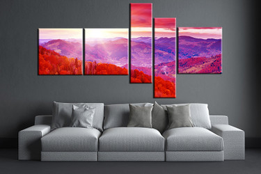 living room art, 5 piece canvas wall art, landscape decor, landscape artwork, landscape large canvas