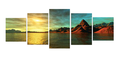 Ocean Mountains,Ocean Sunrise Oil Painting,Ocean Canvas Art,Beach Canvas Art
