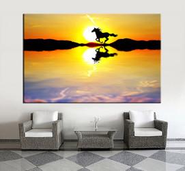 1 piece wall art,  wildlife multi panel art, horse artwork, wildlife huge large pictures, sunrise living room photo canvas