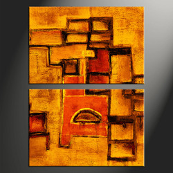 2 piece canvas wall art, home decor artwork, abstract photo canvas, orange oil paintings canvas photography