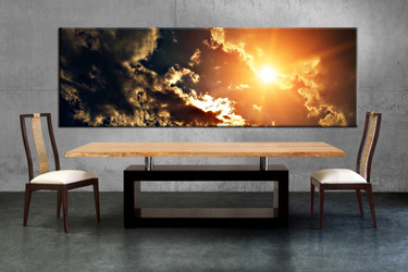 1 piece multi panel canvas, dining room canvas photography, clouds wall art, scenery yellow artwork