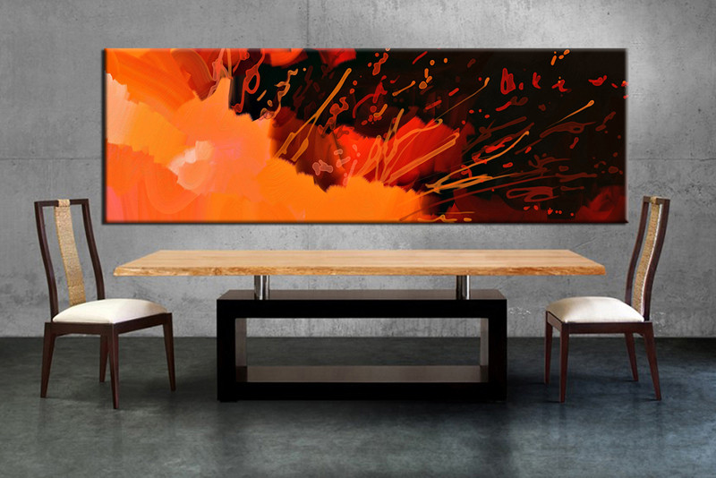 1 Piece Panoramic Orange Abstract Large Canvas