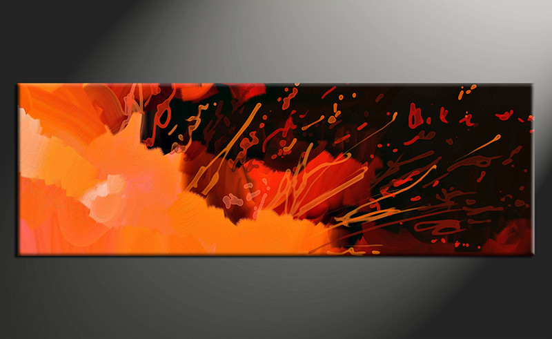 1 Piece Panoramic Orange Abstract Large Canvas Abstract Wall Art Large Abstract Art