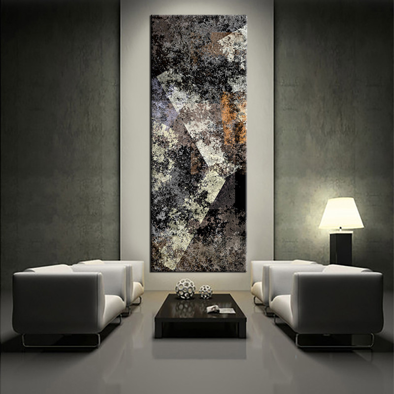 1 Piece Vertical Canvas Wall Decor Grey Abstract Art Abstract Wall Art