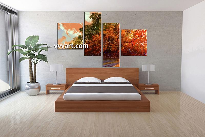 4 Piece Scenery Orange Canvas Art Oil Paintings