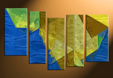5 piece photo canvas, home decor artwork, abstract blue multi panel canvas, oil Paintings canvas photography