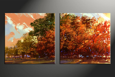 2 piece canvas wall art, home decor artwork, oil paintings photo canvas, orange scenery canvas photography