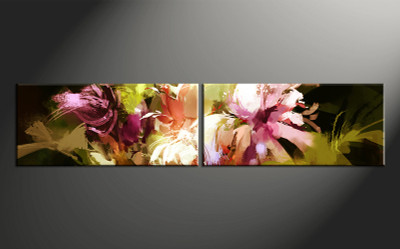 2 piece canvas photography, home decor art, colorful floral canvas art, floral huge pictures