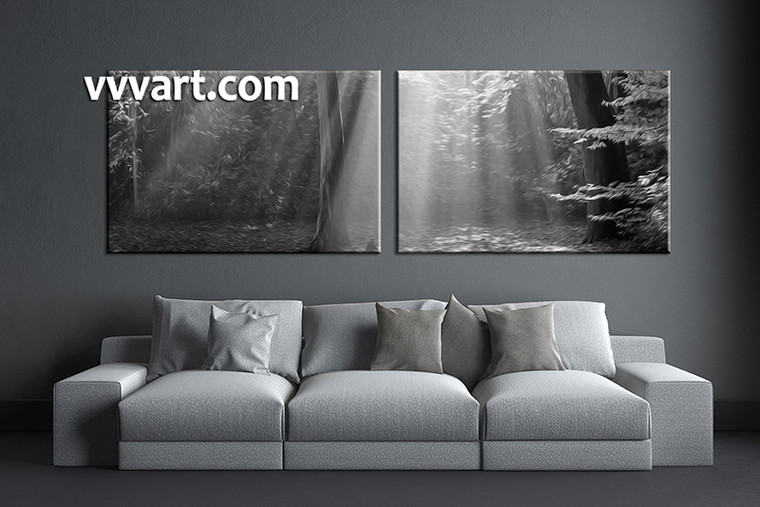 2 piece wall art,  black and white multi panel art, oil paintings artwork, black and white huge large pictures, living room photo canvas