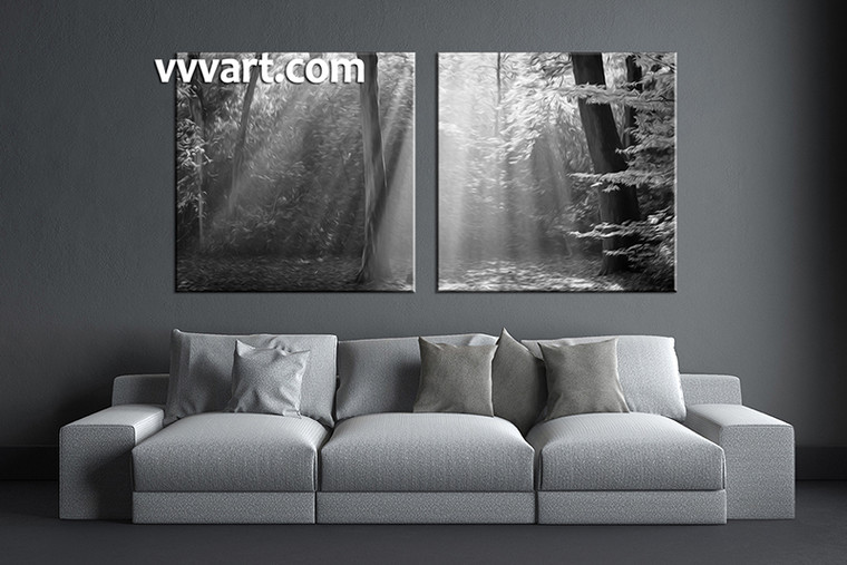 2 piece wall art,  black and white multi panel art, oil paintings artwork, black and white huge large pictures, living