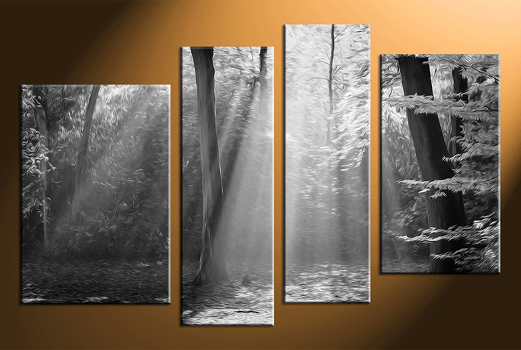 4 piece canvas photography, scenery home decor art, black and white canvas art, black and white huge pictures