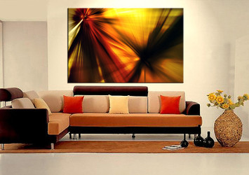 1 piece large pictures, living room canvas photography, yellow abstract wall art