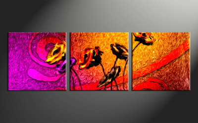 3 piece large canvas, home decor artwork, floral large pictures, oil paintings floral art