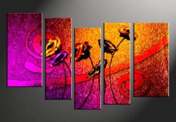 5 piece large canvas, home decor artwork, floral large pictures, oil paintings floral art
