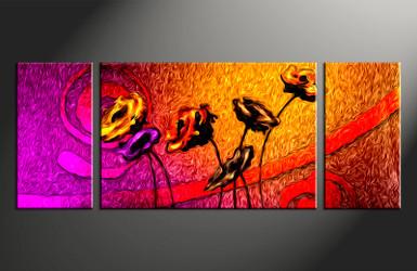 3 piece large canvas, floral home decor artwork, floral large pictures, colorful floral art