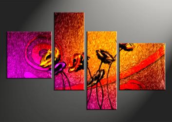 4 piece large canvas, home decor artwork, floral large pictures, floral art
