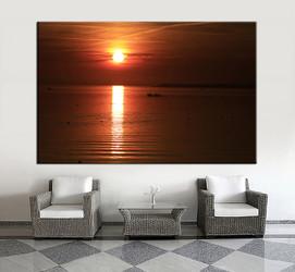 1 piece wall art,  ocean wall art, sunset ocean artwork, ocean huge large pictures, ocean living room photo canvas