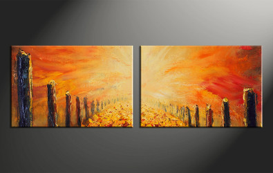 2 piece canvas photography, home decor art, oil paintings modern huge pictures, orange modern wall decor