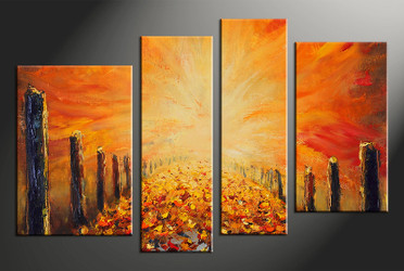 home decor, 4 piece wall art, modern pictures, oil paintings modern art, modern large pictures, orange modern artwork