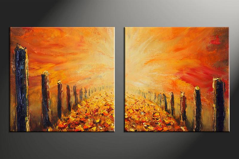 2 Piece Orange Modern Oil Paintings Huge Canvas Art