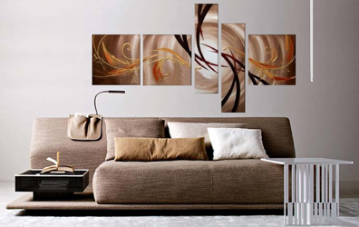 5 piece canvas wall art, living room huge canvas wall art, orange modern photo canvas, modern large pictures