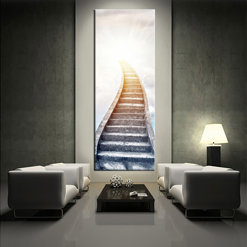 1 Piece White Large Pictures Stair Vertical Modern Artwork Contemporary Canvas Prints