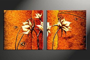 2 piece large canvas, home decor artwork, floral large pictures, orange floral art