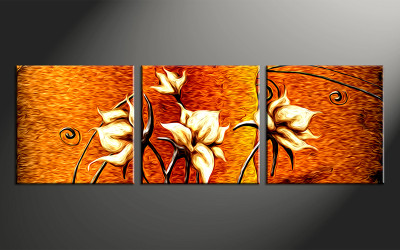 3 piece canvas wall art, floral floral pictures, floral home decor, oil paintings floral wall art