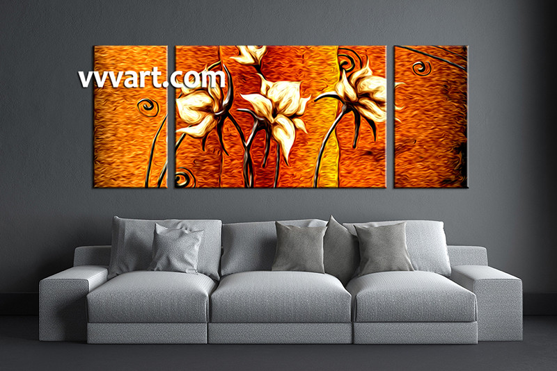 3 Piece Floral Orange Huge Canvas Oil Paintings