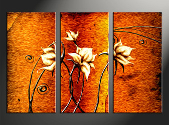 3 piece canvas art, home decor artwork, floral photo canvas, orange floral canvas photography, oil paintings floral art