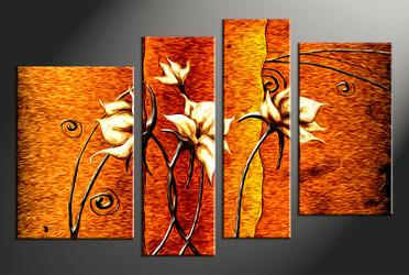 4 piece large canvas, flower home decor artwork, floral large pictures, oil paintings floral art