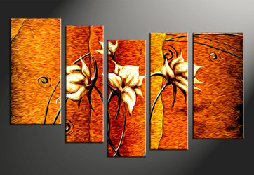 5 piece large canvas, home decor artwork, orange floral large pictures, oil paintings floral art