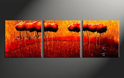 3 piece large canvas, home decor artwork, modern oil paintings large pictures, orange modern art