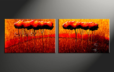 home decor, 2 piece canvas wall art, oil paintings modern photo canvas, modern art, orange modern large canvas