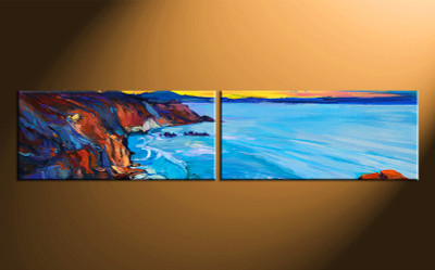 2 piece large canvas, home decor artwork, ocean large pictures, oil paintings ocean art