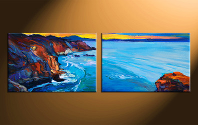 2 piece large canvas, ocean home decor artwork, ocean large pictures, oil paintings ocean art