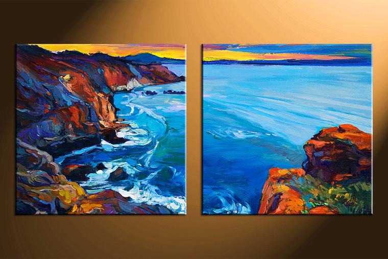 2 Piece Blue Ocean Huge Canvas Art Oil Paintings