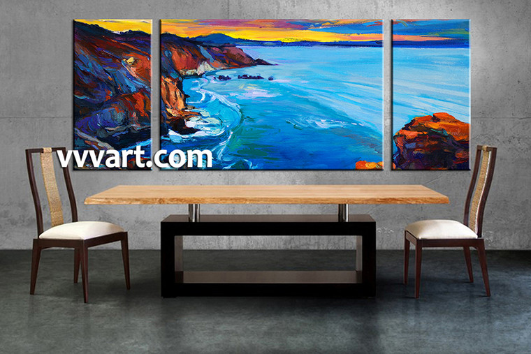 3 piece multi panel art, dining room canvas photography, ocean wall art, oil paintings ocean large pictures