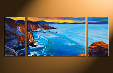 3 piece large canvas, home decor artwork, blue ocean large pictures, oil paintings ocean art