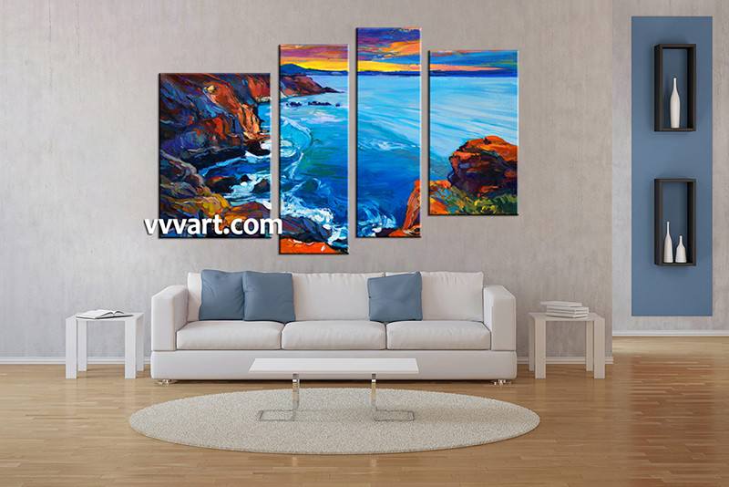 4 Piece Multi Panel Canvas Blue Ocean Oil Paintings,Ocean Canvas Art,Beach  Canvas Art