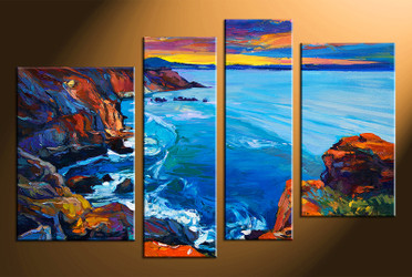 4 piece canvas wall art, blue ocean pictures, ocean home decor, oil paintings ocean wall art