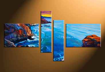 4 piece canvas art, home decor artwork, ocean photo canvas, ocean canvas photography, blue ocean art