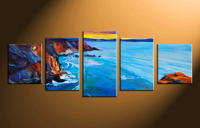 5 piece canvas wall art, ocean ocean pictures, oil paintings home decor, blue ocean wall art