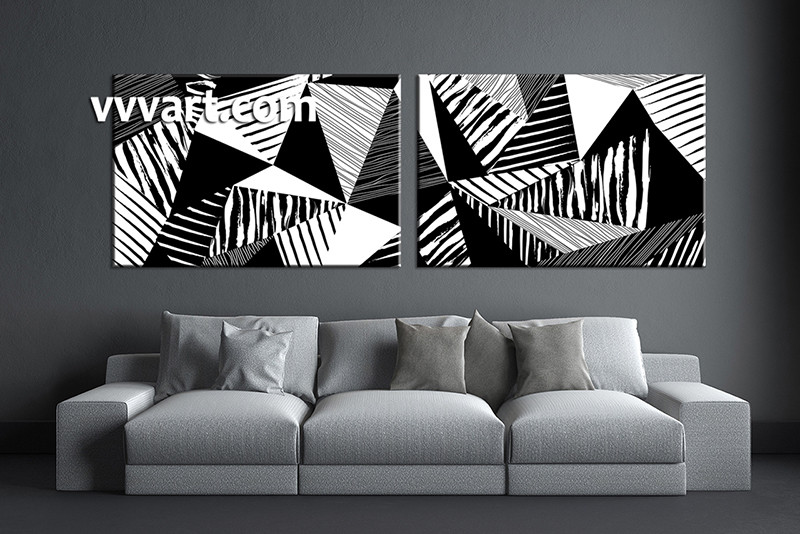 f12ee9be7ee 2 Piece Canvas Abstract Black and White Oil Paintings Art